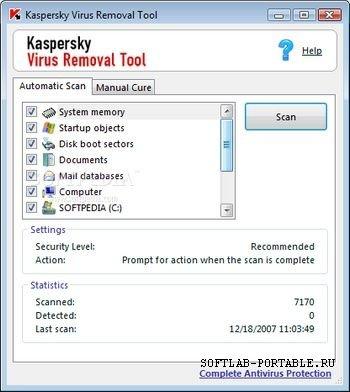 Kaspersky Virus Removal Tool v 7.0.0.290 (20.12.08)