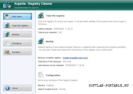Argente Registry Cleaner 3.1.2.0 Portable